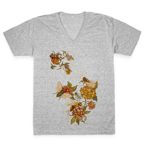 Florals & Insects V-Neck Tee Shirt