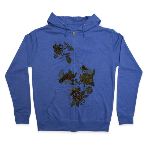 Florals & Insects Zip Hoodie