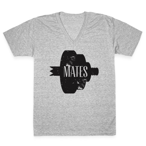 Swole Mates distressed (Mate Half) V-Neck Tee Shirt