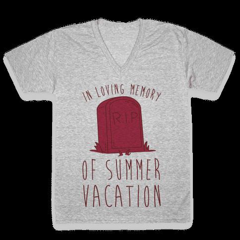 In Loving Memory Of Summer Vacation V-Neck Tee Shirt