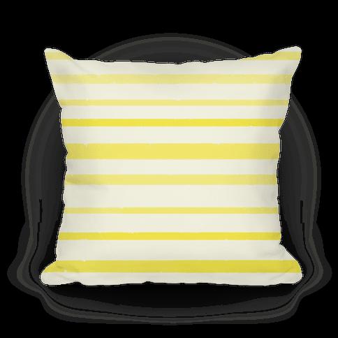 Yellow Watercolor Stripe Pattern Pillow