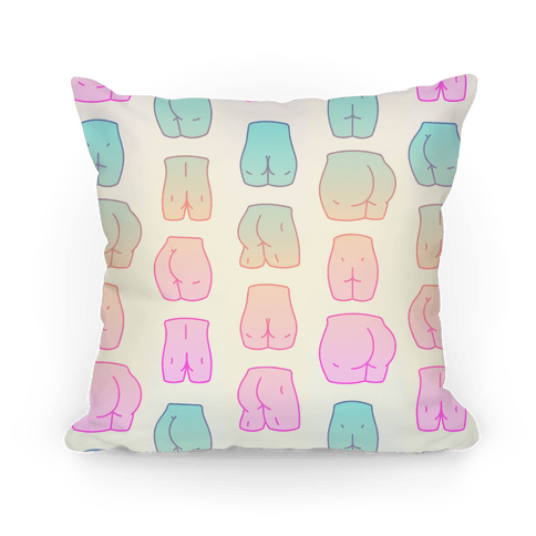 kawaii pastel butt pattern throw pillow lookhuman