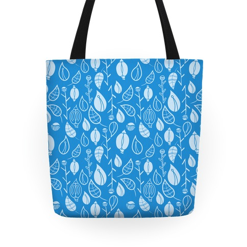 Florals Pattern (Light Blue) Tote