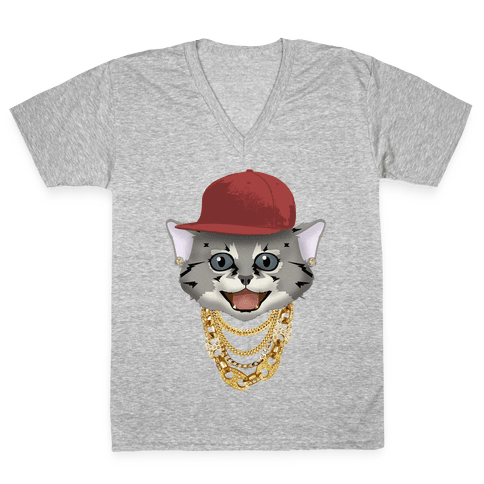 Gucci Links, Gangsta Cat V-Neck Tee Shirt
