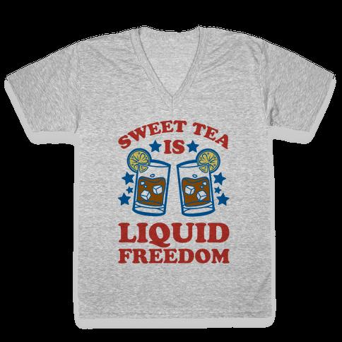 Sweet Tea Is Liquid Freedom V-Neck Tee Shirt