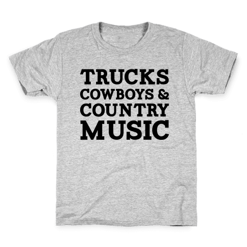 Trucks Cowboys and Country Music Kids T-Shirt
