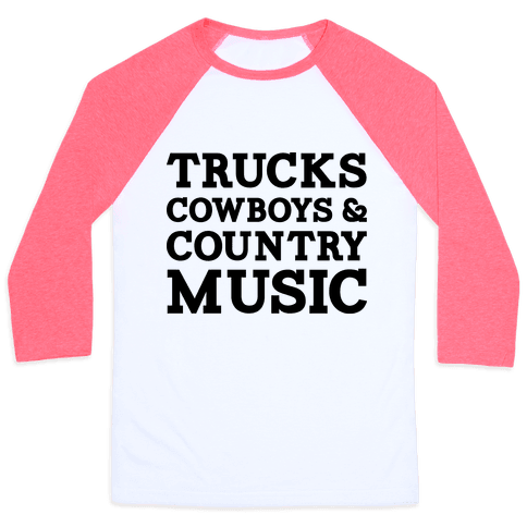 Trucks Cowboys and Country Music Baseball Tee