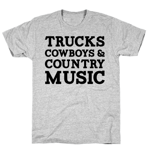 Trucks Cowboys and Country Music Mens T-Shirt