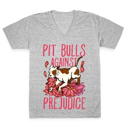 Pit Bulls Against Prejudice V-Neck Tee Shirt