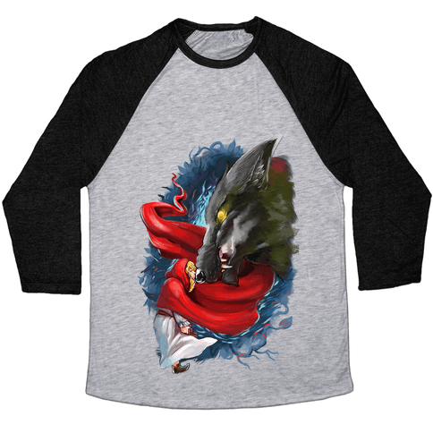 Little Red Riding Hood and the Wolf Baseball Tee