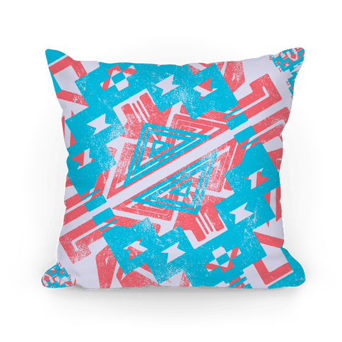 Red and Blue Aztec Pattern Pillow