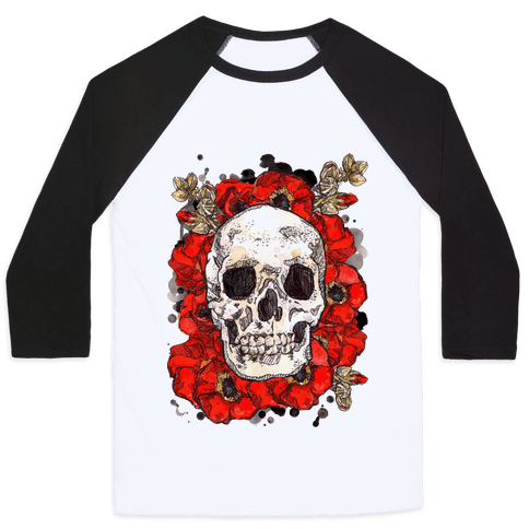 Skull on a Bed of Poppies Baseball Tee