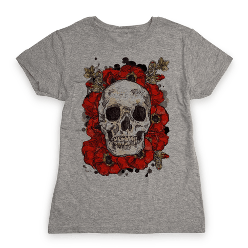 Skull on a Bed of Poppies Womens T-Shirt