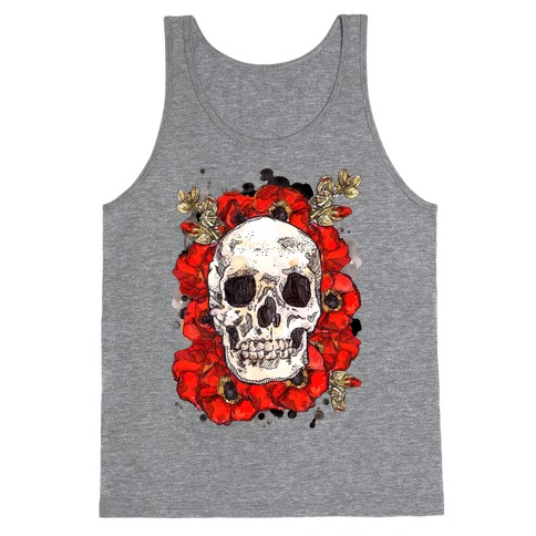 Skull on a Bed of Poppies Tank Top