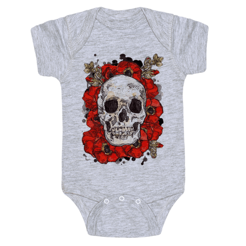 Skull on a Bed of Poppies Baby Onesy