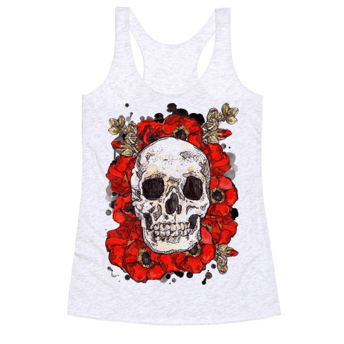Skull on a Bed of Poppies Racerback Tank Top