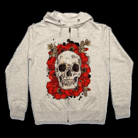 Skull on a Bed of Poppies Zip Hoodie