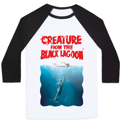 Black Lagoon (Jaws Parody) Baseball Tee
