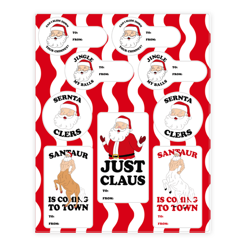 Weird Santa Claus Gift Tags Sticker and Decal Sheet