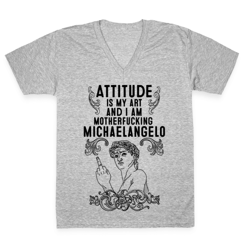 Art Attitude V-Neck Tee Shirt