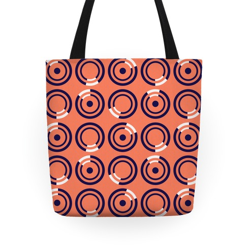 Navy and White Circle Pattern Tote Tote