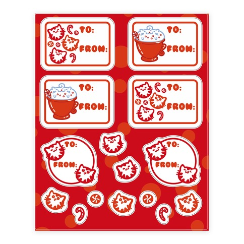 Purr Purr Mint Gift Tag Sticker/Decal Sheet