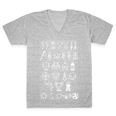 Tarot Card Icons V-Neck Tee Shirt