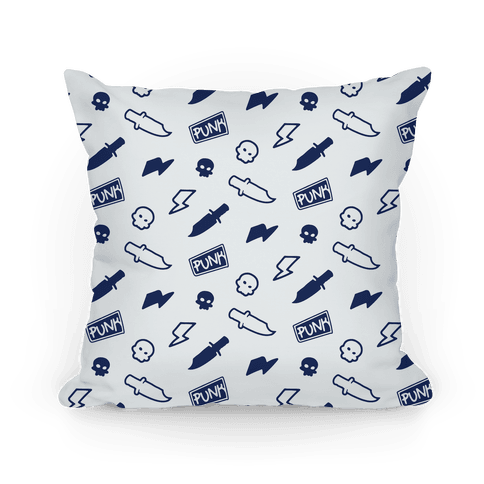 Navy Rebel Punk Pattern Pillow