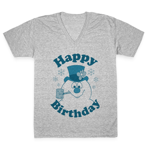 Happy Birthday V-Neck Tee Shirt