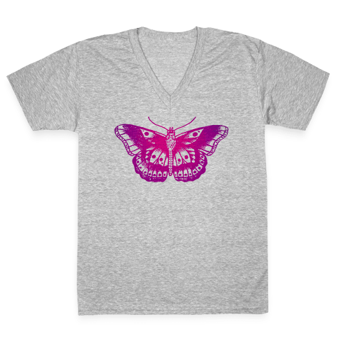 Harry's Butterfly Tattoo (Vintage Style) V-Neck Tee Shirt