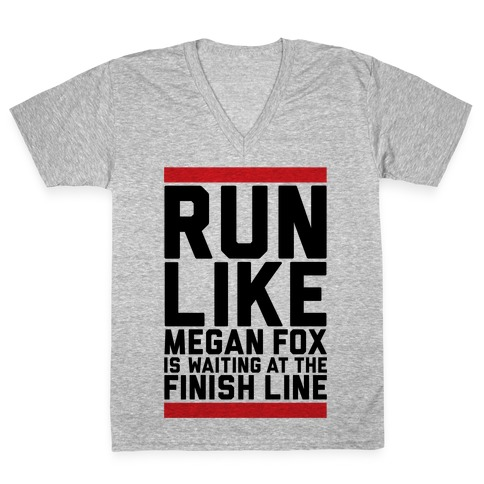 Run For Megan Fox V-Neck Tee Shirt