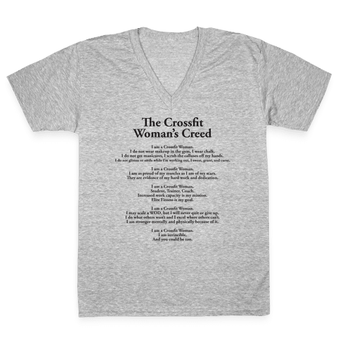 The Crossfit Woman's Creed (Tank) V-Neck Tee Shirt