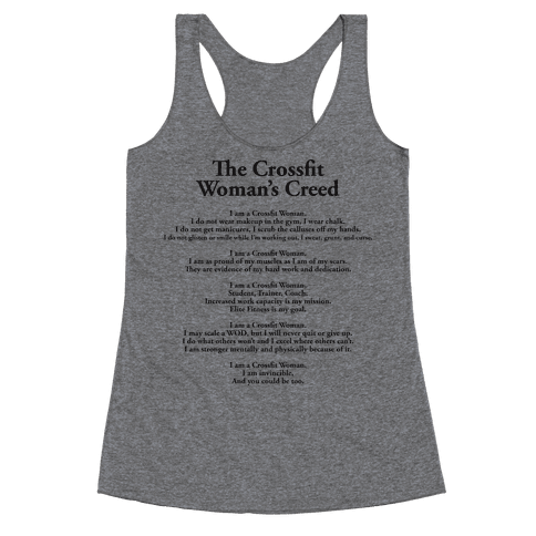The Crossfit Woman's Creed (Tank) Racerback Tank Top