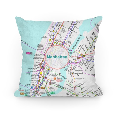 Manhattan Transit Map Pillow