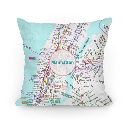 Manhattan Transit Map Pillow