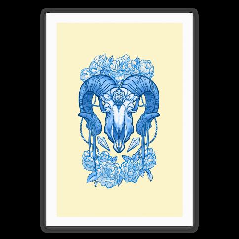 Flowery Ram Skull Poster