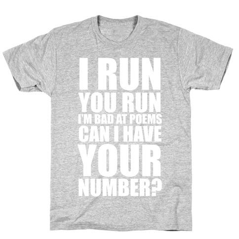Runner Pickup Line Poem (White Ink) Mens T-Shirt