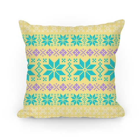 Sweater Pattern Print Yellow Pillow