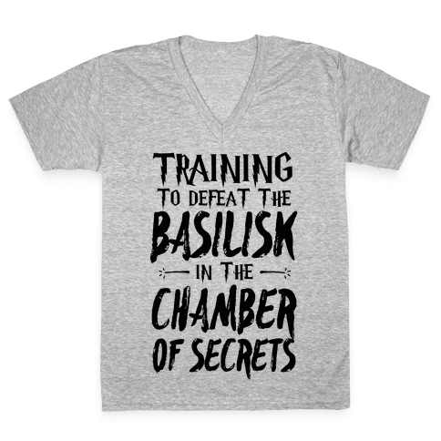 Training to Defeat the Basilisk in the Chamber of Secrets V-Neck Tee Shirt