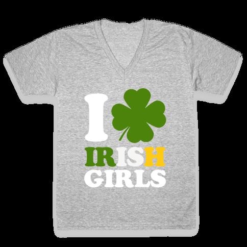 I Love Irish Girls V-Neck Tee Shirt