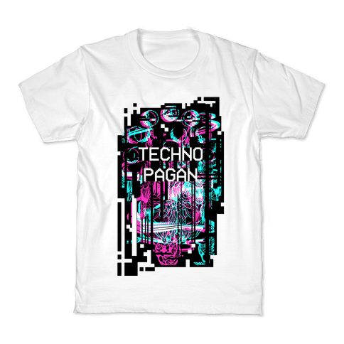 Techno Pagan Glitch Art Kids T-Shirt
