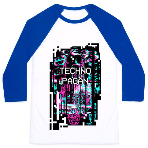 Techno Pagan Glitch Art Baseball Tee