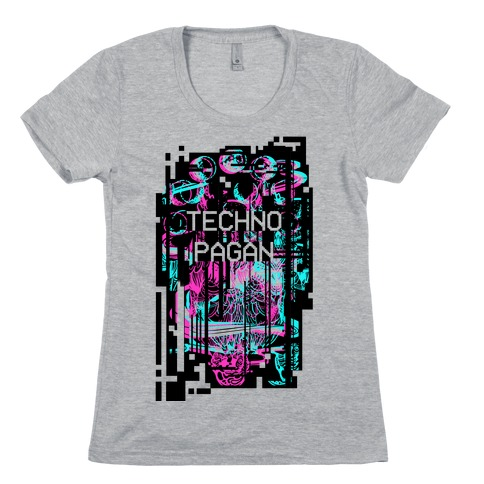 Techno Pagan Glitch Art Womens T-Shirt