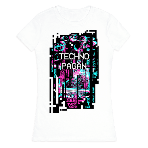 Techno Pagan Glitch Art Womens T-Shirt