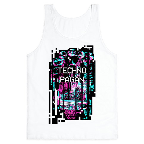 Techno Pagan Glitch Art Tank Top