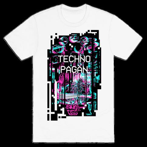 Techno Pagan Glitch Art Mens T-Shirt