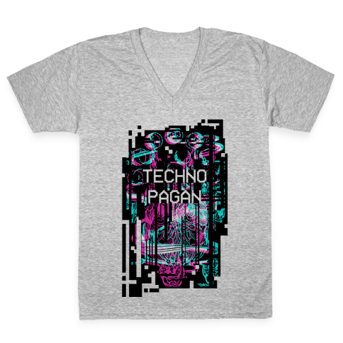 Techno Pagan Glitch Art V-Neck Tee Shirt