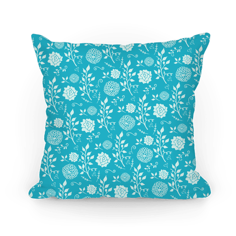 Blue Whimsical Floral Pattern Pillow