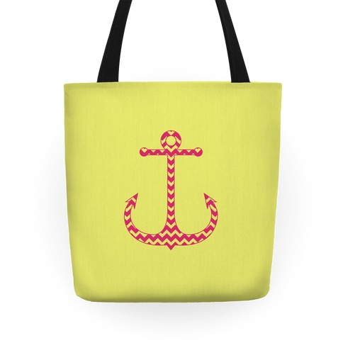 Chevron Anchor Tote (Pink and Yellow) Tote