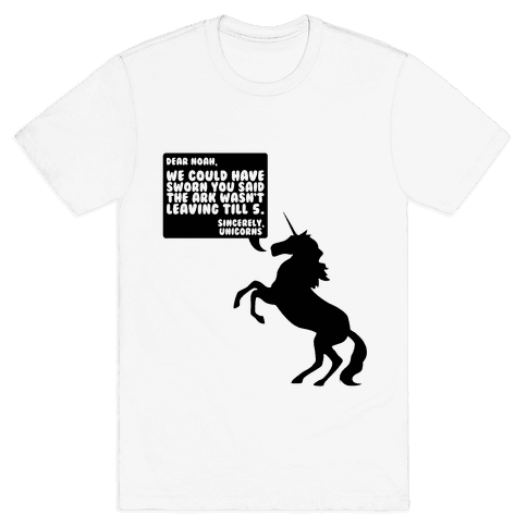 Dear Noah, Sincerely Unicorns Mens T-Shirt